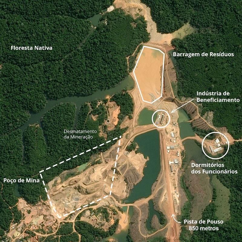 Mina de ouro, estrutura de beneficiamento e pista de pouso da Gana Gold em Itaituba (PA). Foto/Crédito: ©Airbus DS/Earthrise