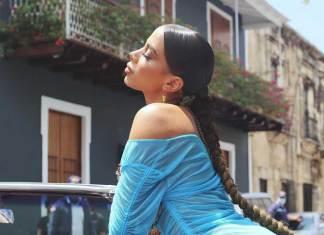 Anitta vestido azul rapunzel
