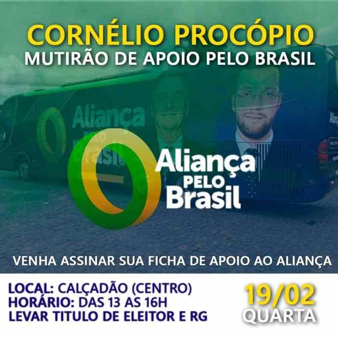 Banner de evento para coleta de assinaturas do Aliança Pelo Brasil em Cornélio Procópio (Foto: Reprodução/ Facebook)