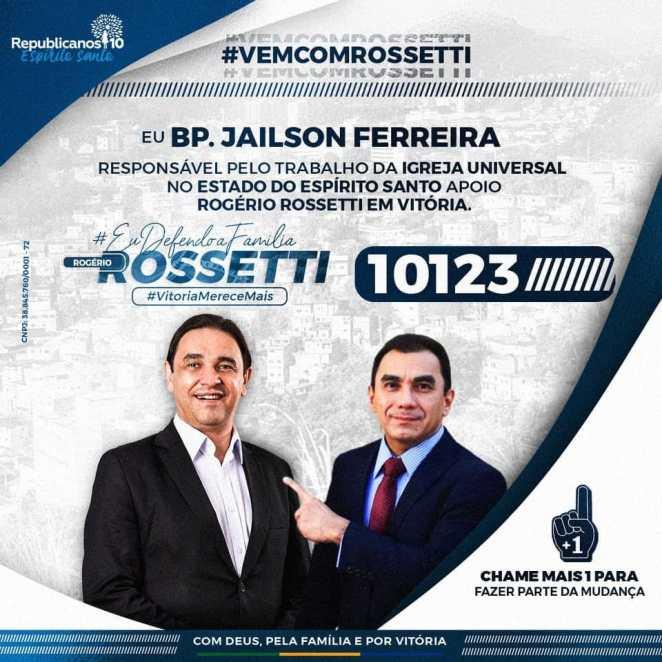 Publicação no Facebook do bispo Jailson Ferreira declara apoio ao pastor Rogério Rossetti (Foto: Reprodução)