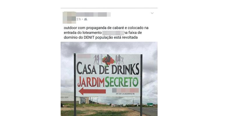 Outdoor de novo 'cabaré' em Cajazeiras causa polêmica nas redes sociais. Entenda!