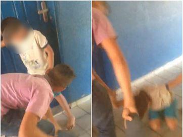 Garoto é agredido por jovens em escola de Brejo do Cruz, enquanto funcionárias ficam rindo