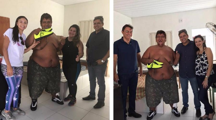 Carlinhos recebe da Carreiros os tênis feitos sob encomenda para ele