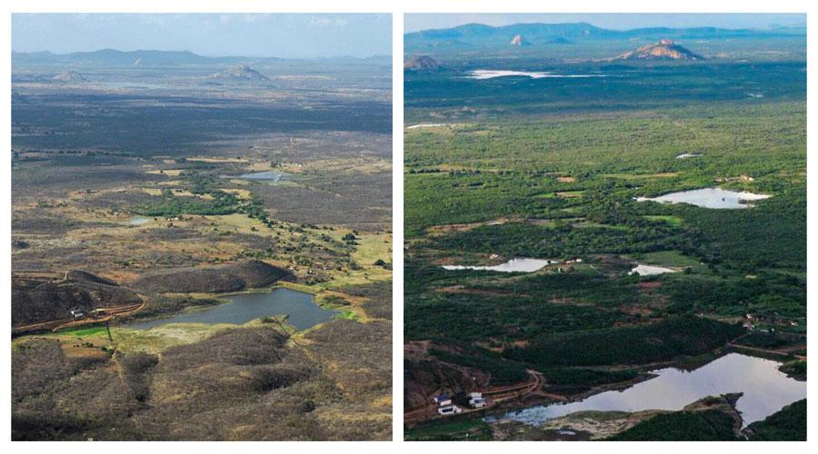 O antes e o depois: A chuva transformando as paisagens do Sertão