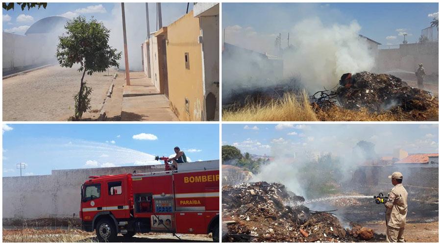 Bombeiros apagam mais um fogo em terreno no bairro do Salgadinho, em Patos