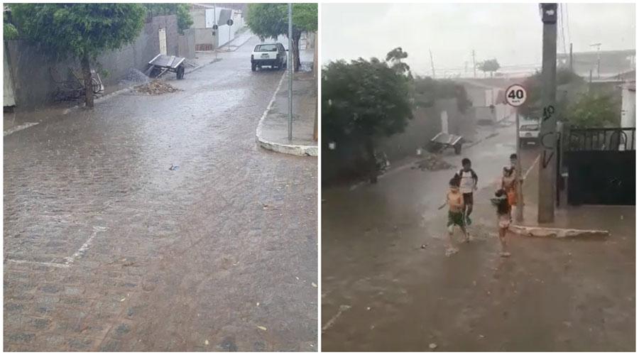 Vila Mariana, em Patos, registra chuva com fortes ventos. Vídeos