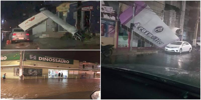 Muita chuva e ventania causam estragos na cidade de Sousa