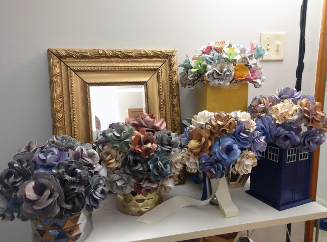 Folie à Deux Events - DIY Wedding Decor Some of the 300+ Paper Flowers we made for a fandom inspired wedding!