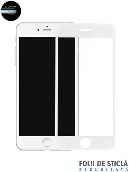 Folie curbată 5D din sticlă securizată pentru iPhone 7 Plus - ALB