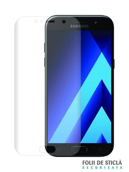 Folie curbată 3D din sticlă securizată pentru Samsung Galaxy A7 (2017) TRANSPARENT (Full cover)