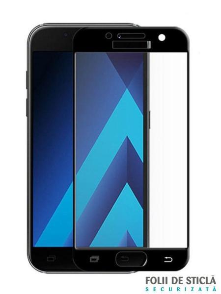 Folie ușor curbată 5D din sticlă securizată pentru Samsung Galaxy A7 (2017) NEGRU - Full glue