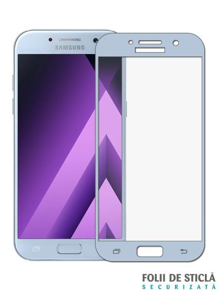 Folie curbată 3D din sticlă securizată pentru Samsung Galaxy A7 (2017) BLUE (Full cover)