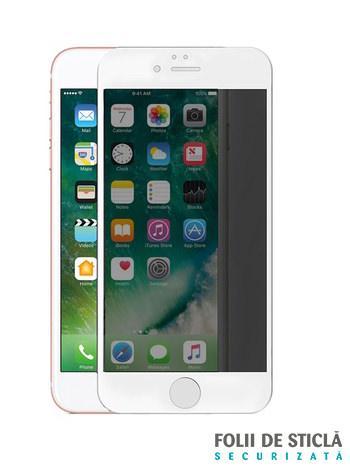 Folie PRIVACY curbată 5D din sticlă securizată pentru iPhone 7 Plus / 8 Plus - ALB