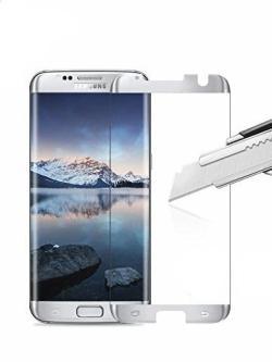 Folie curbată 3D din sticlă securizată pentru Samsung Galaxy S7 Edge SILVER (Case-compatible)