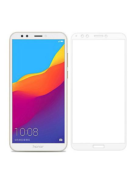 Folie ușor curbată 5D din sticlă securizată pentru Huawei Y7 / Y7 Prime (2018) ALB - Full glue