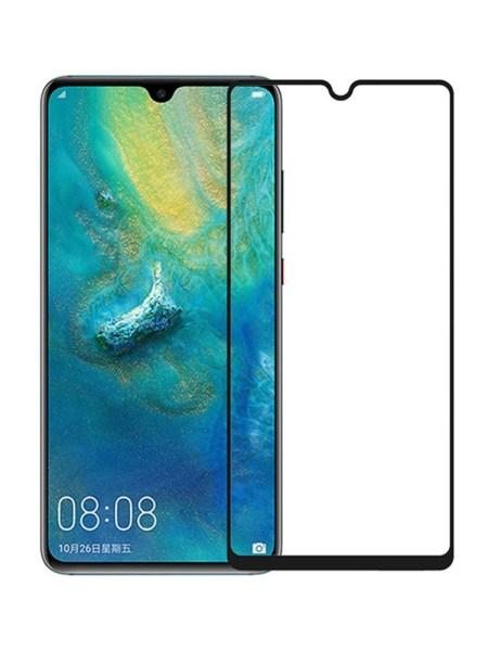 Folie curbată 5D din sticlă securizată pentru Huawei Mate 20 NEGRU - Full glue