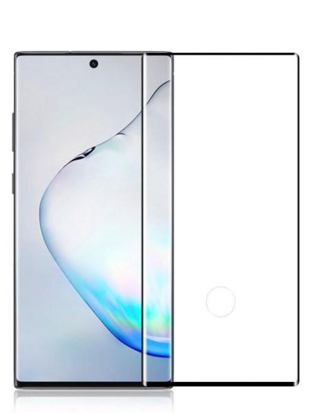 Folie curbată 3D din sticlă securizată pentru Samsung Galaxy Note10 NEGRU - FULL GLUE