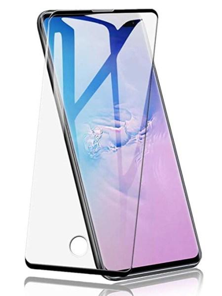 Folie curbată 3D din sticlă securizată pentru Samsung Galaxy S10+ NEGRU - FULL GLUE