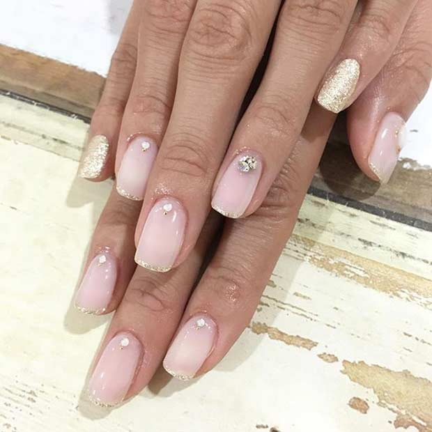 3 Gold Glitter French Tip Wedding Nail Design