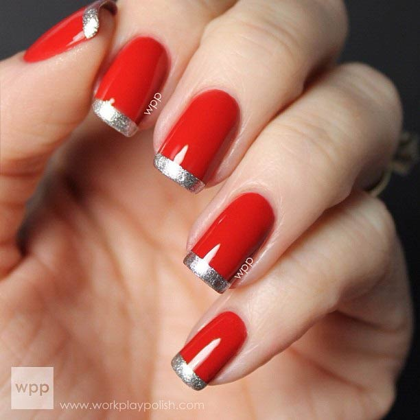 31 Red And Silver Glitter French Tip Nails