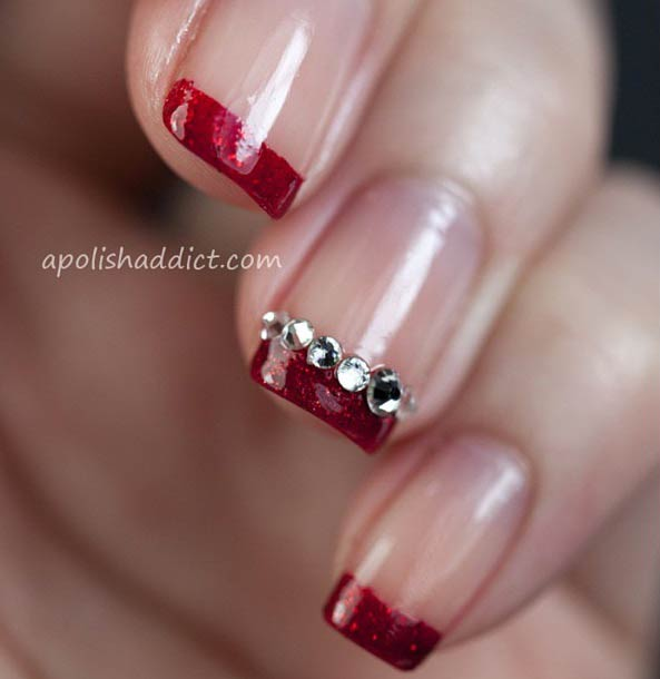 4 Red Glittery French Tip Nail Design
