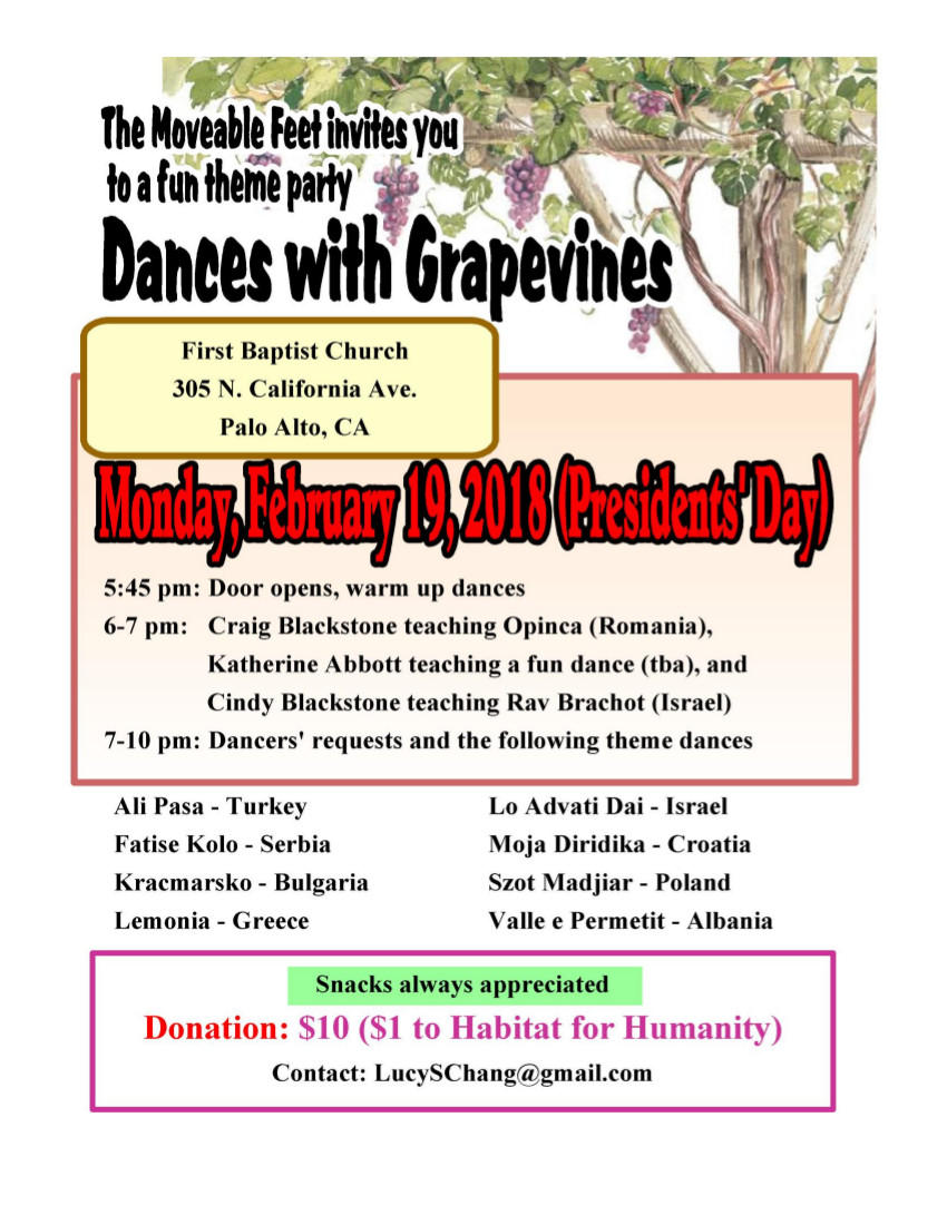 Dances with Grapevines Theme Party - Folk Dance Federation of California