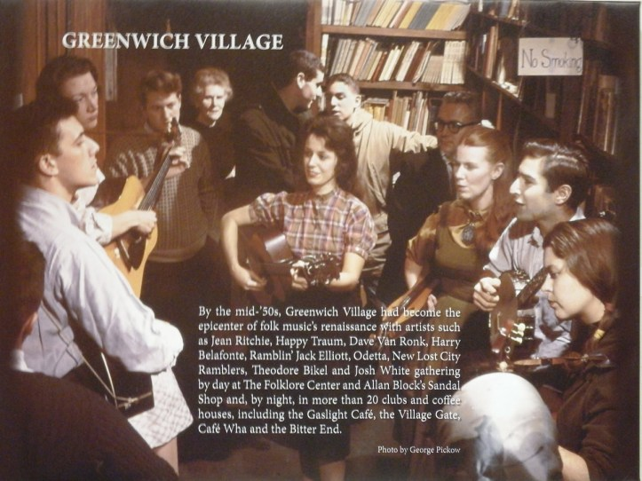 Photo by George Pickow of a typical Greenwich Village 1950s - and '60s gathering of folk musicians, including Ritchie (third from right).