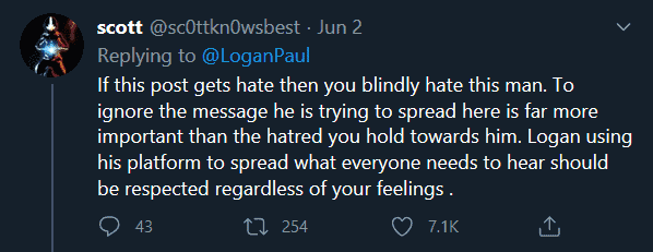 Logan Paul appreciated for his fiesty speech against racism.