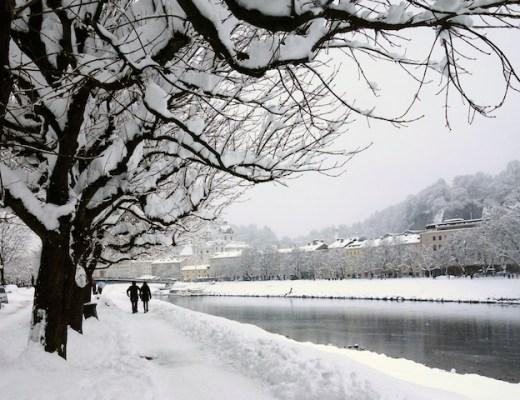 Winterspaziergang Salzach Salzburg Stadt