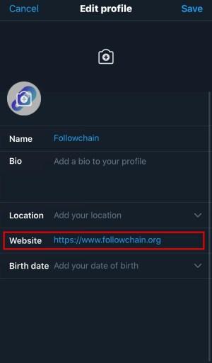 Twitter add website