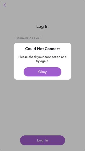 Snapchat could not connect