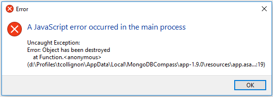 A JavaScript error occured in the main process