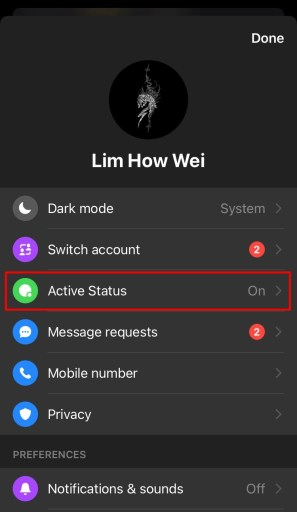 Facebook messenger active status