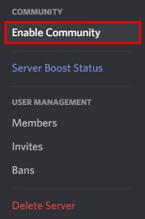 Discord enable community