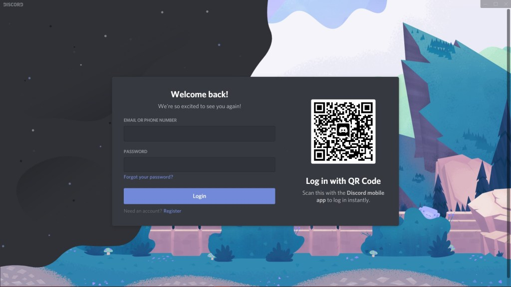 Main Discord desktop application homepage.