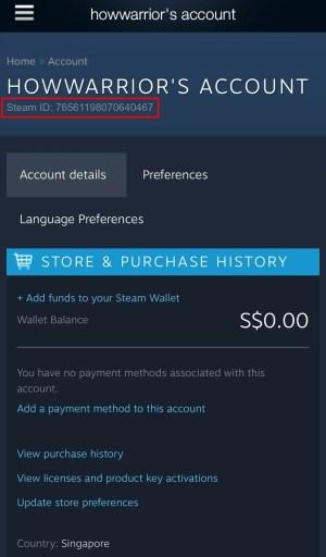 Steam ID on Steam app