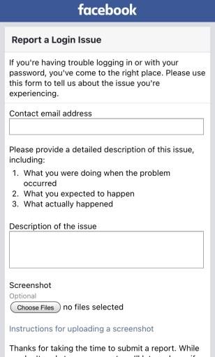 Report a Login Issue Facebook