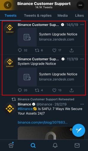Binance system upgrade