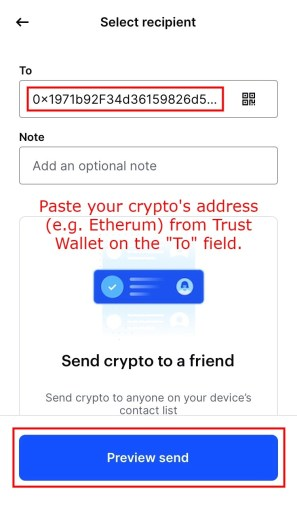 How to transfer crypto from Coinbase to Trustwallet