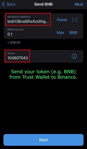 Send BNB from Trust Wallet