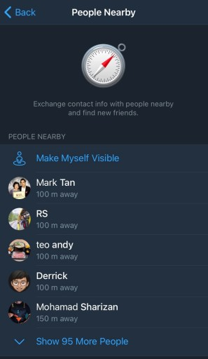 Telegram people nearby