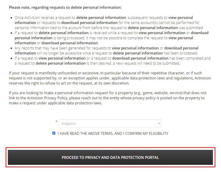 Proceed to privacy and data protection portal