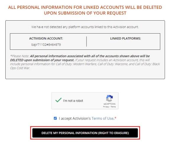 Delete Activision account