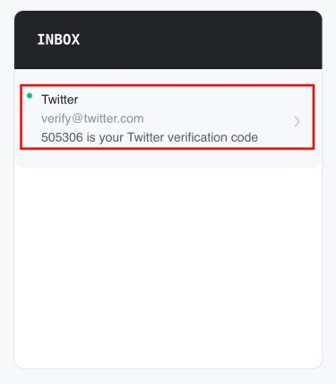 Twitter verification code