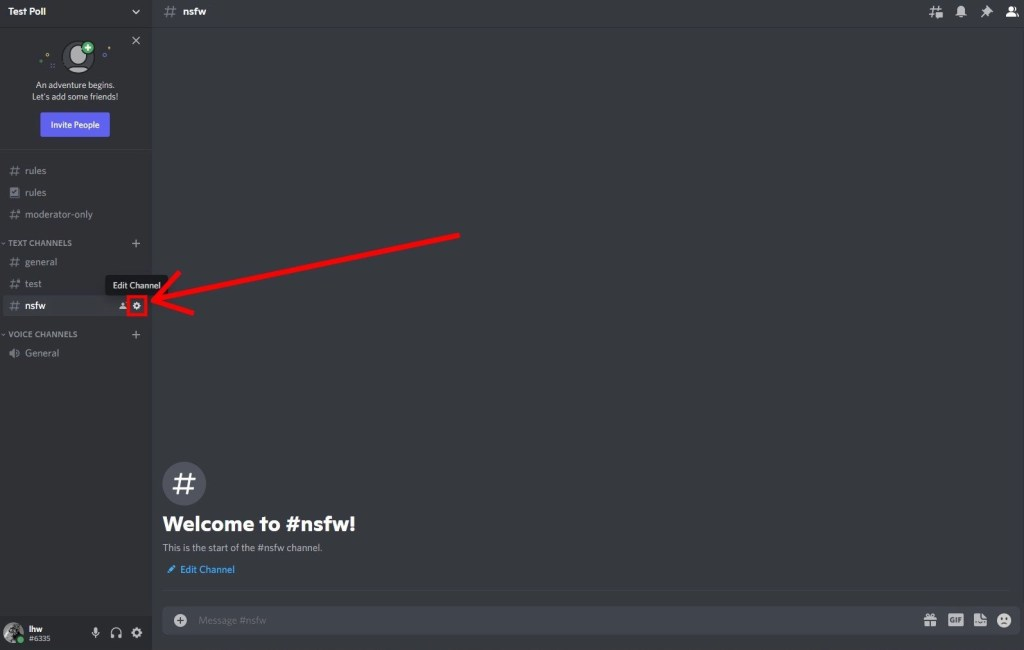 Edit channel on Discord