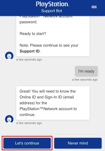 PlayStation support bot