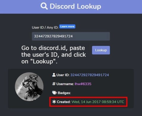 How to check when a Discord account was made