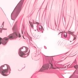 Anime girl hugging soft toy rabbit