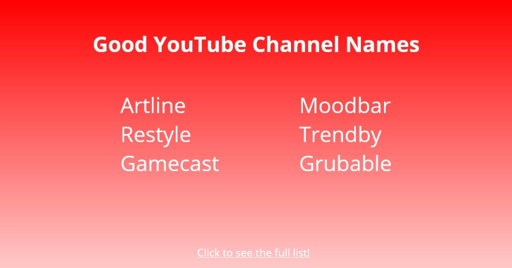 Good YouTube Channel Names