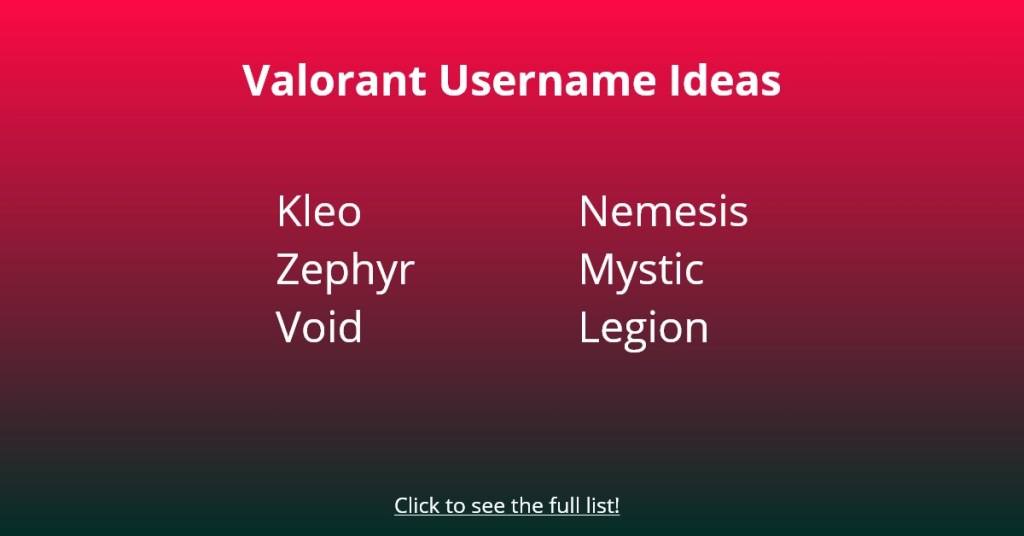 Valorant Username Ideas
